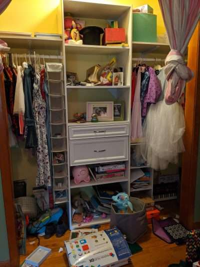 Kids closet before Neatly Placed LLC